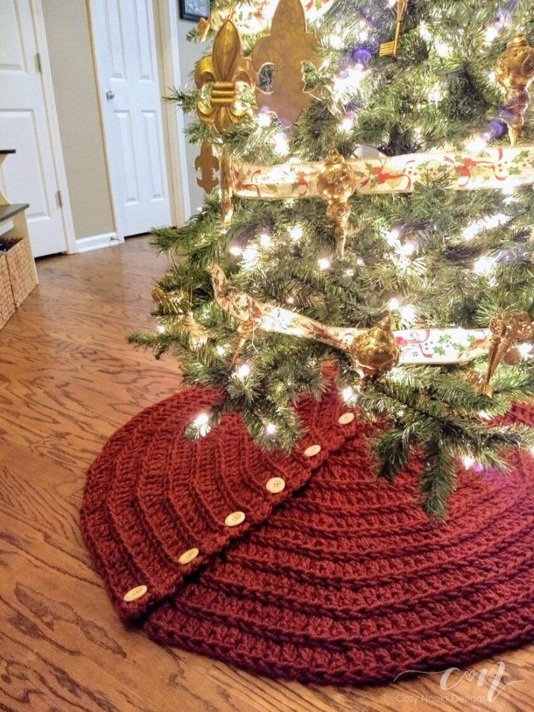Farmhouse Christmas Tree Skirt Crochet Pattern Cozy Nooks Designs