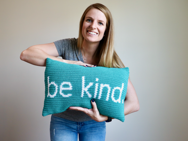 Free Crochet Pattern – Be Kind Pillow
